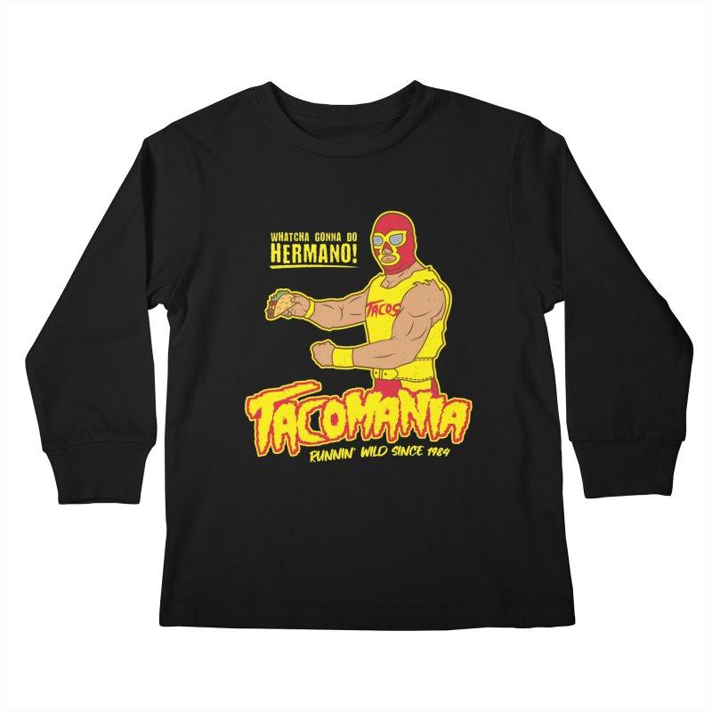 Tacomania Funny Taco Wrestling Luchador Kids Longsleeve T-Shirt by Wasabi Snake