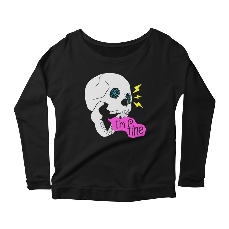 I'm Fine Skull Women's Longsleeve T-Shirt by Wasabi Snake