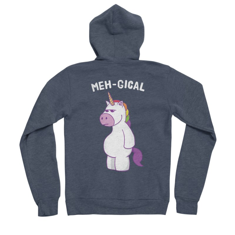 The Meh-gical Unicorn Men's Sponge Fleece Zip-Up Hoody by Wasabi Snake