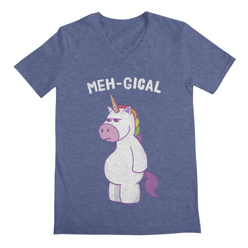 The Meh-gical Unicorn Men's Regular V-Neck by Wasabi Snake