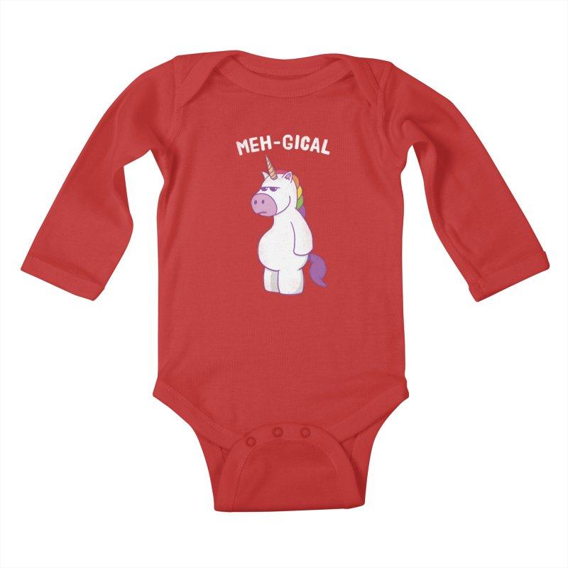 The Meh-gical Unicorn Kids Baby Longsleeve Bodysuit by Pete Styles' Artist Shop
