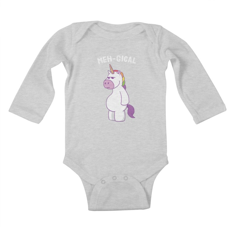 The Meh-gical Unicorn Kids Baby Longsleeve Bodysuit by Wasabi Snake