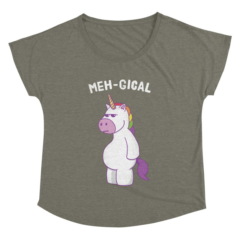 The Meh-gical Unicorn Women's Dolman Scoop Neck by Wasabi Snake