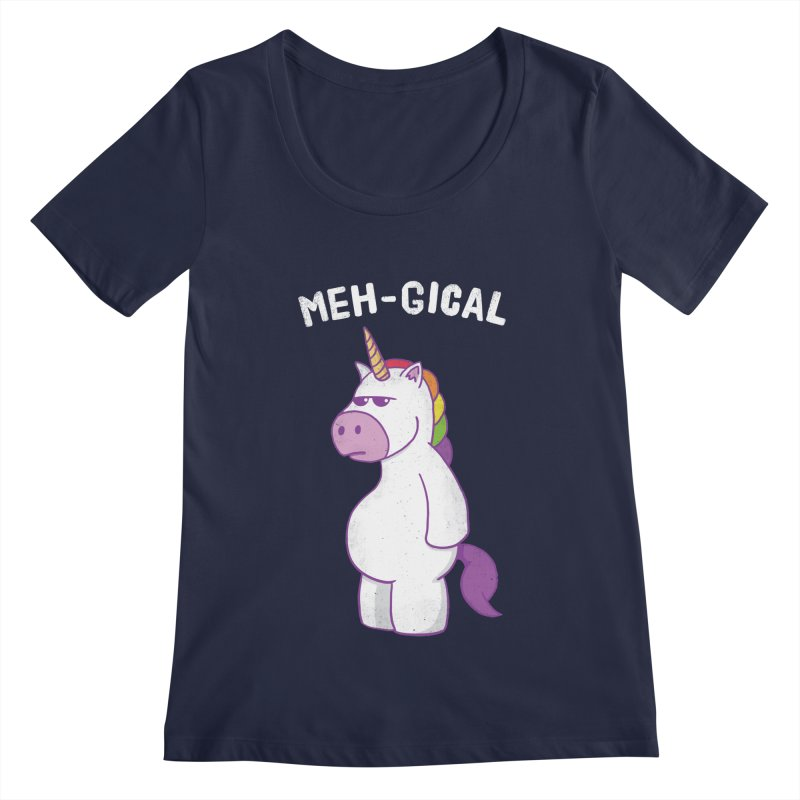 The Meh-gical Unicorn Women's Regular Scoop Neck by Wasabi Snake