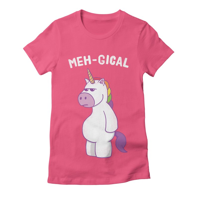 The Meh-gical Unicorn Women's Fitted T-Shirt by Wasabi Snake