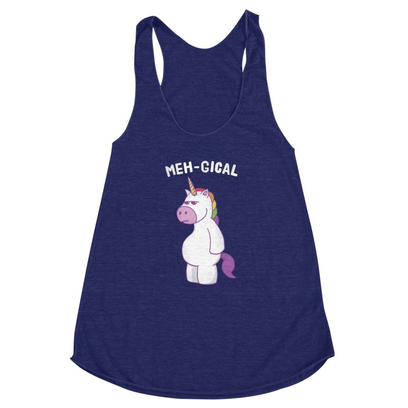 The Meh-gical Unicorn Women's Racerback Triblend Tank by Pete Styles' Artist Shop