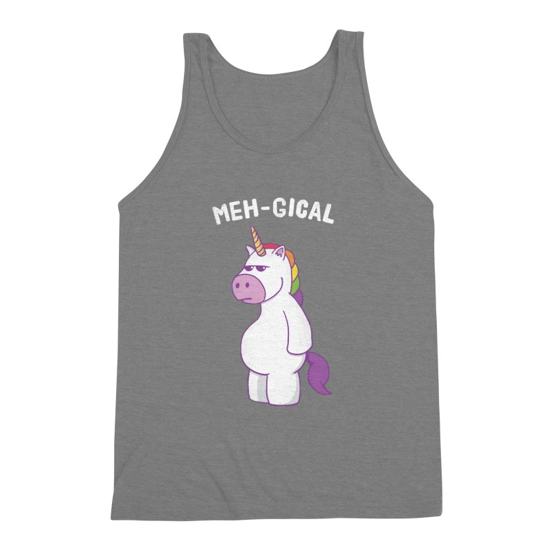The Meh-gical Unicorn Men's Triblend Tank by Wasabi Snake