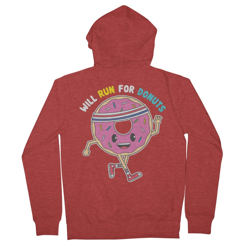 Will Run For Donuts Men's French Terry Zip-Up Hoody by Wasabi Snake