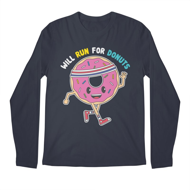 Will Run For Donuts Men's Regular Longsleeve T-Shirt by Wasabi Snake
