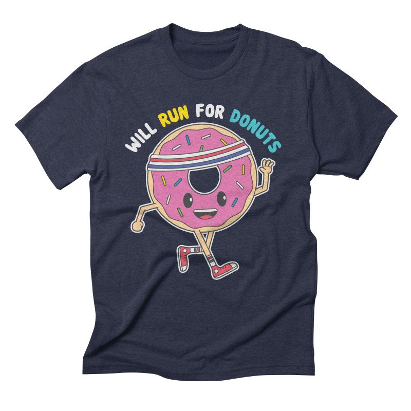 Will Run For Donuts Men's Triblend T-Shirt by Wasabi Snake