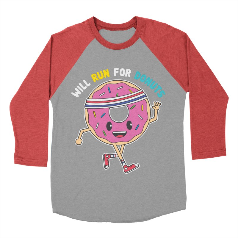 Will Run For Donuts Women's Baseball Triblend Longsleeve T-Shirt by Wasabi Snake