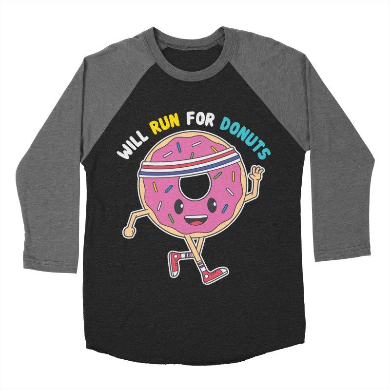 Will Run For Donuts Men's Baseball Triblend Longsleeve T-Shirt by Wasabi Snake