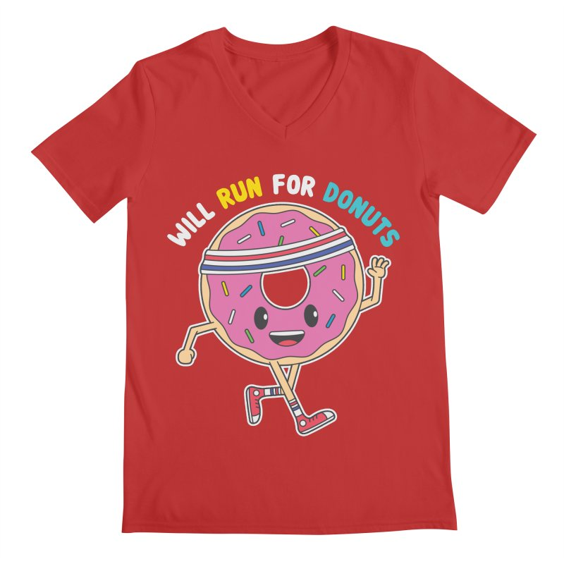 Will Run For Donuts Men's V-Neck by Wasabi Snake
