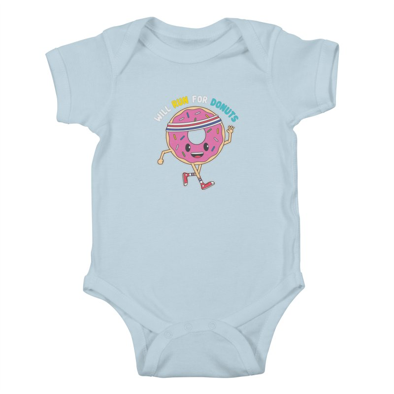 Will Run For Donuts Kids Baby Bodysuit by Wasabi Snake