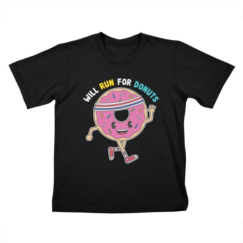 Will Run For Donuts Kids T-Shirt by Wasabi Snake