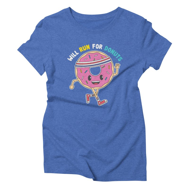 Will Run For Donuts Women's Triblend T-Shirt by Wasabi Snake