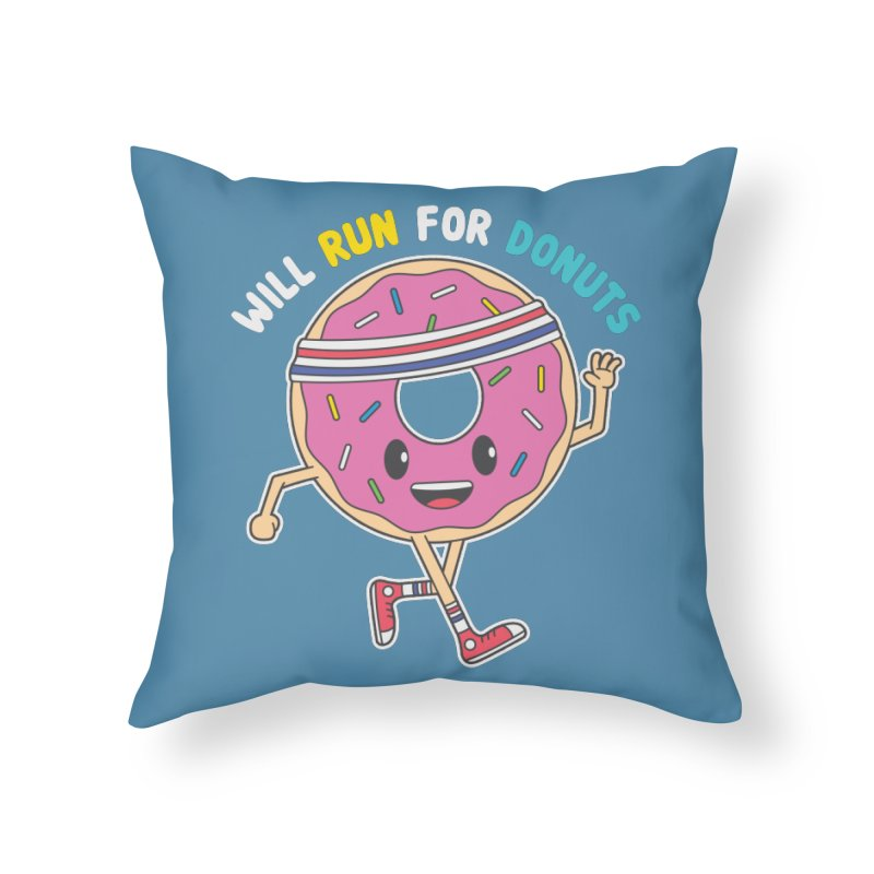 Will Run For Donuts Home Throw Pillow by Wasabi Snake