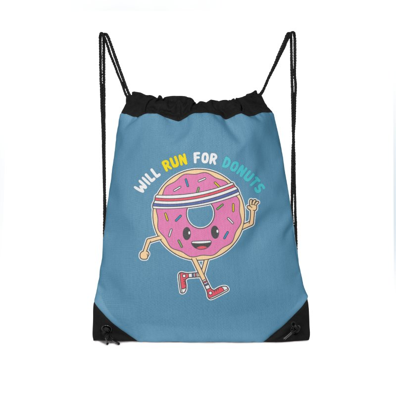 Will Run For Donuts Accessories Drawstring Bag Bag by Wasabi Snake