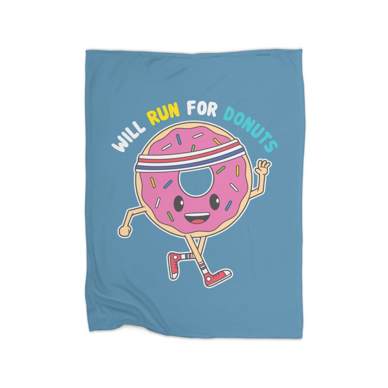 Will Run For Donuts Home Fleece Blanket Blanket by Wasabi Snake