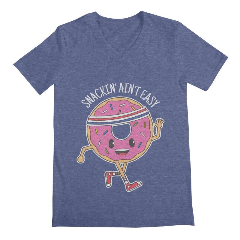 Snackin' Ain't Easy Men's Regular V-Neck by Wasabi Snake