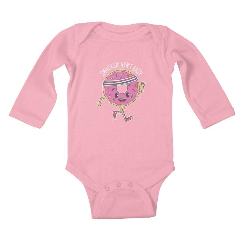 Snackin' Ain't Easy Kids Baby Longsleeve Bodysuit by Pete Styles' Artist Shop