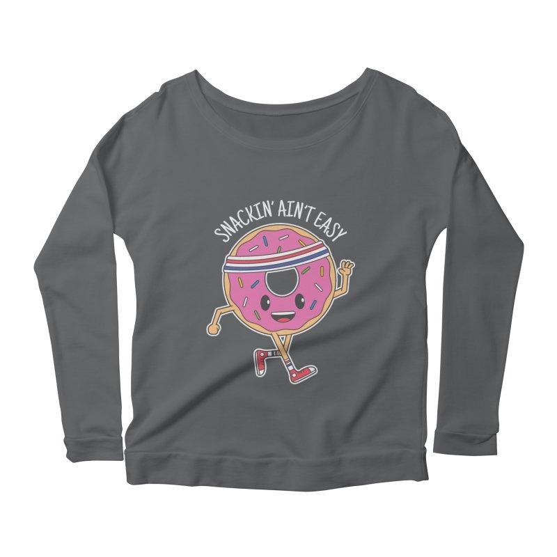 Snackin' Ain't Easy Women's Scoop Neck Longsleeve T-Shirt by Wasabi Snake