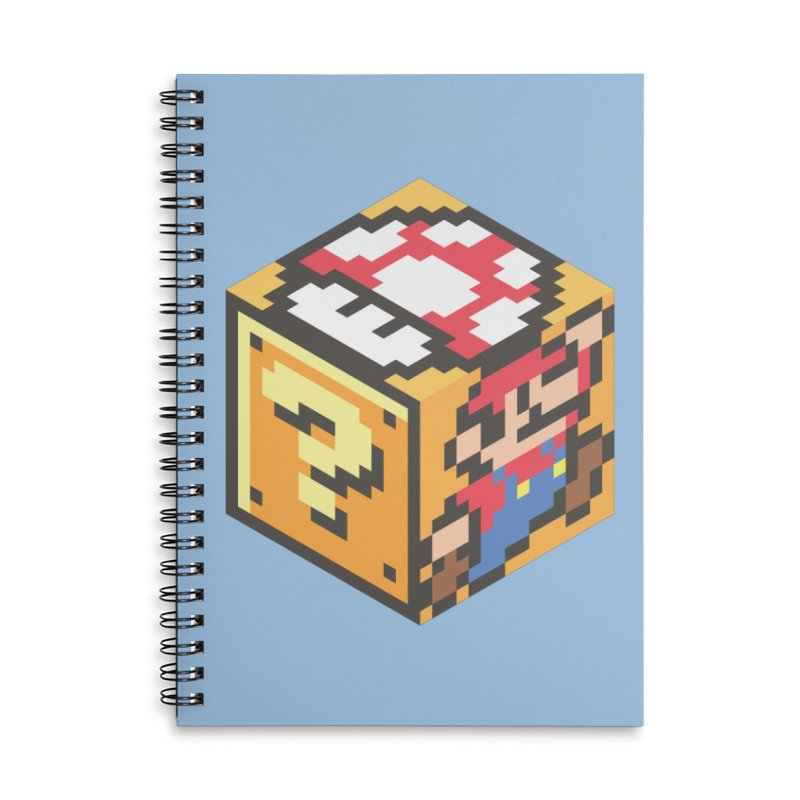 Isometric Mario Cube Accessories Lined Spiral Notebook by Wasabi Snake