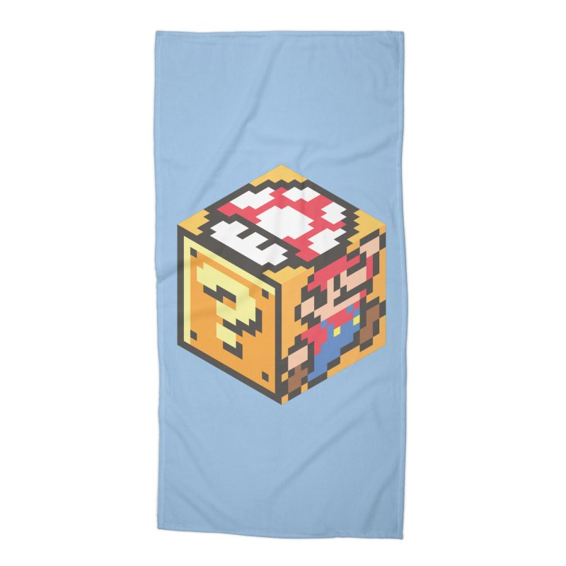 Isometric Mario Cube Accessories Beach Towel by Pete Styles' Artist Shop