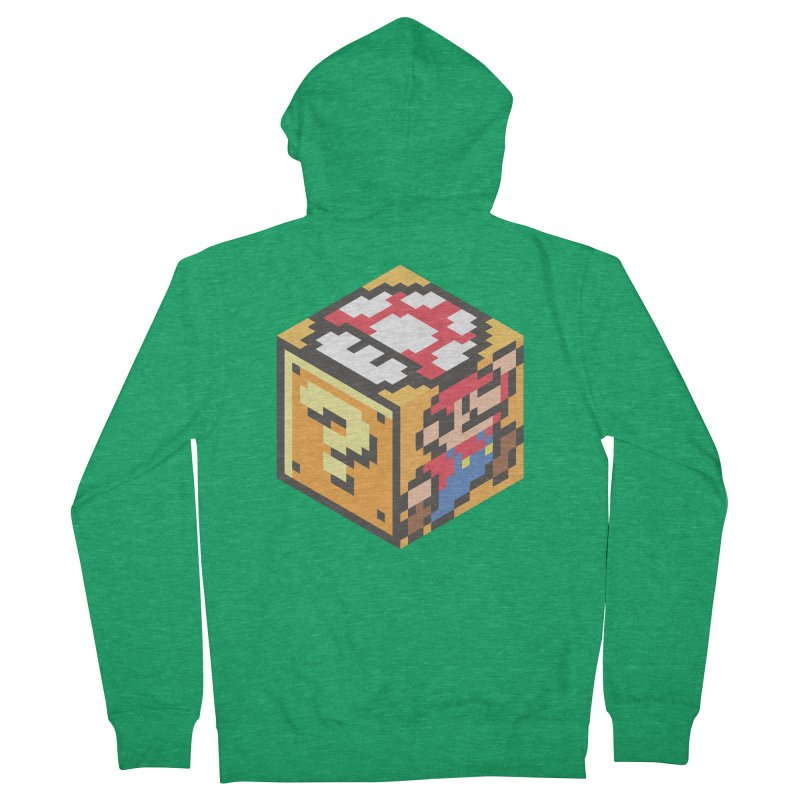 Isometric Mario Cube Women's French Terry Zip-Up Hoody by Wasabi Snake