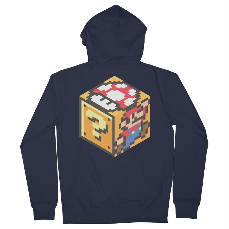 Isometric Mario Cube Men's French Terry Zip-Up Hoody by Wasabi Snake