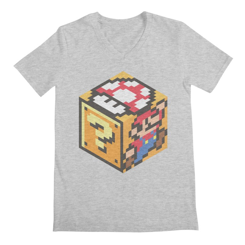 Isometric Mario Cube Men's Regular V-Neck by Wasabi Snake