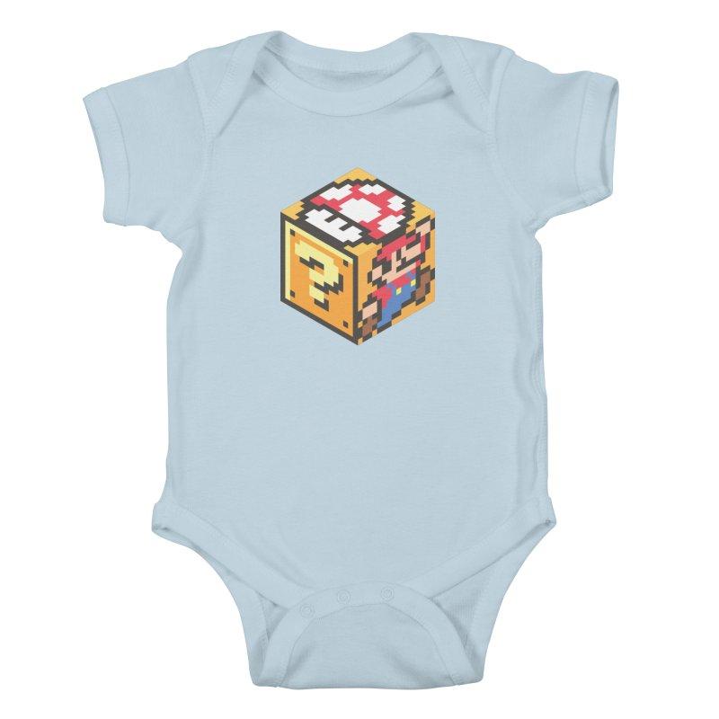 Isometric Mario Cube Kids Baby Bodysuit by Wasabi Snake