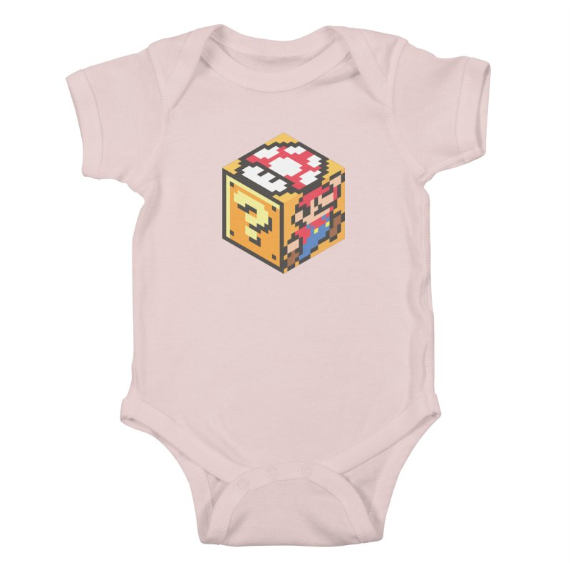 Isometric Mario Cube Kids Baby Bodysuit by Wasabi Snake