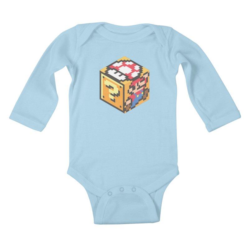 Isometric Mario Cube Kids Baby Longsleeve Bodysuit by Wasabi Snake