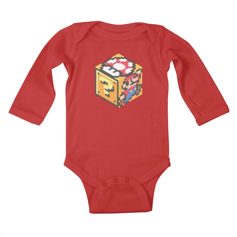 Isometric Mario Cube Kids Baby Longsleeve Bodysuit by Pete Styles' Artist Shop