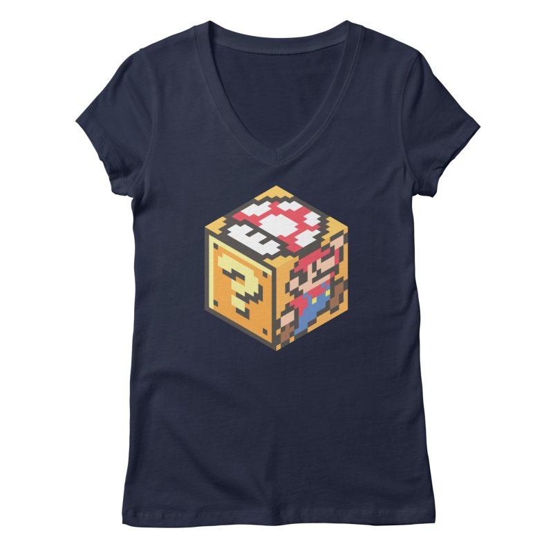 Isometric Mario Cube Women's Regular V-Neck by Wasabi Snake
