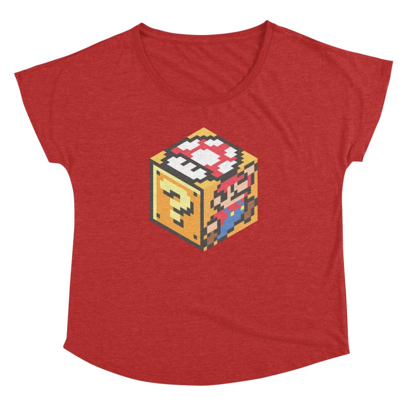 Isometric Mario Cube Women's Dolman Scoop Neck by Wasabi Snake