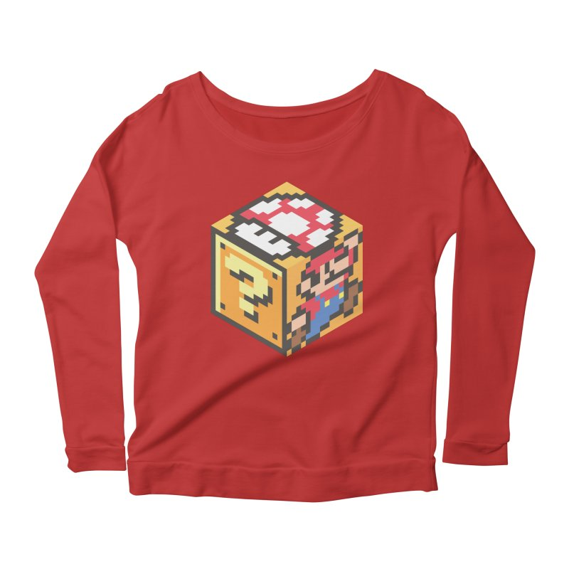 Isometric Mario Cube Women's Scoop Neck Longsleeve T-Shirt by Wasabi Snake