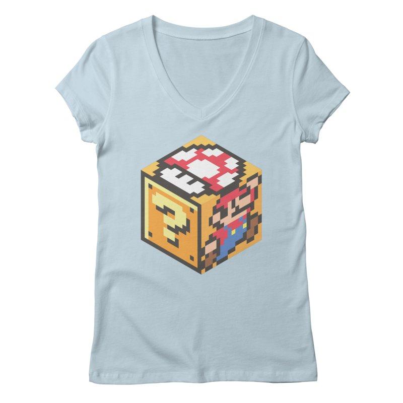 Isometric Mario Cube Women's Regular V-Neck by Wasabi Snake