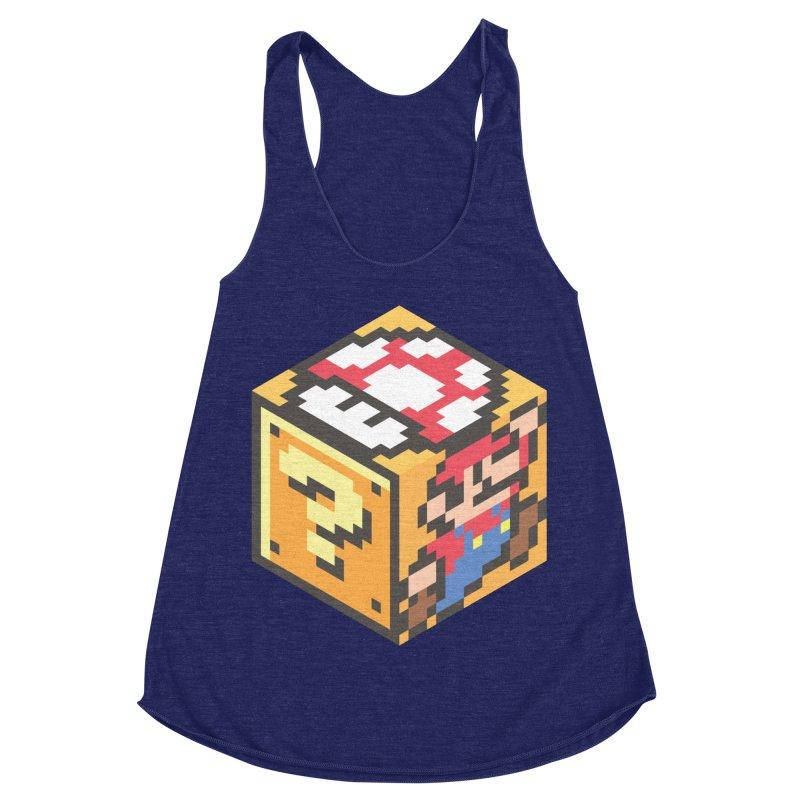 Isometric Mario Cube Women's Racerback Triblend Tank by Wasabi Snake