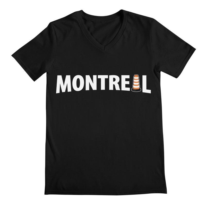 Montreal Traffic Cone Men's Regular V-Neck by Wasabi Snake