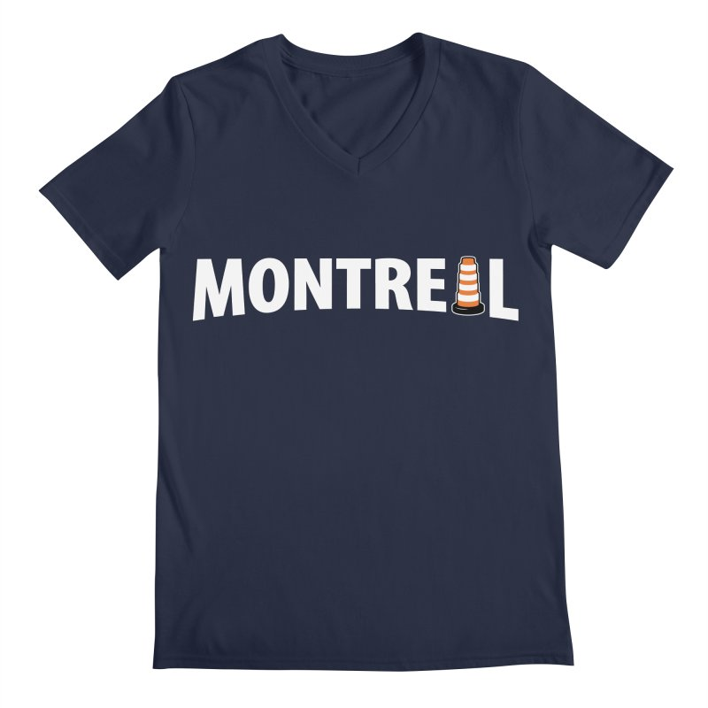 Montreal Traffic Cone Men's Regular V-Neck by Wasabi Snake