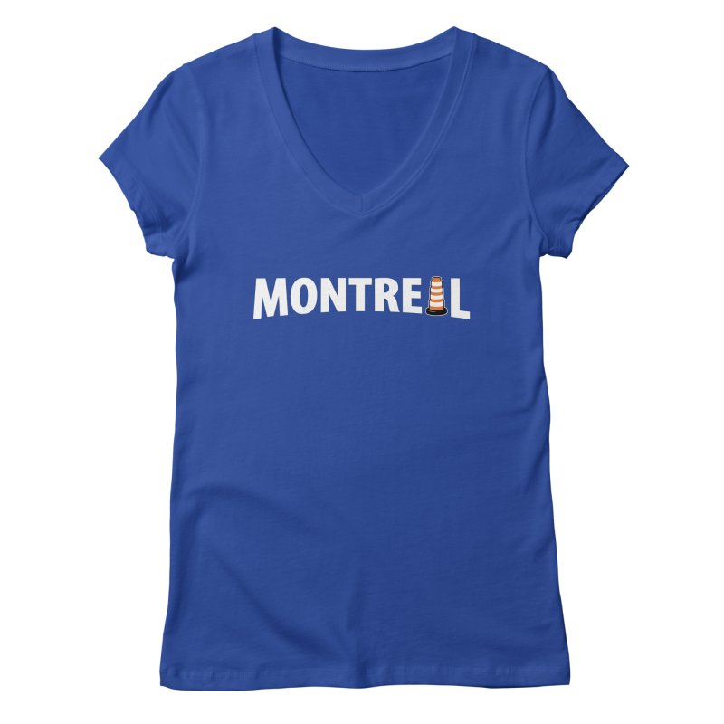 Montreal Traffic Cone Women's Regular V-Neck by Wasabi Snake