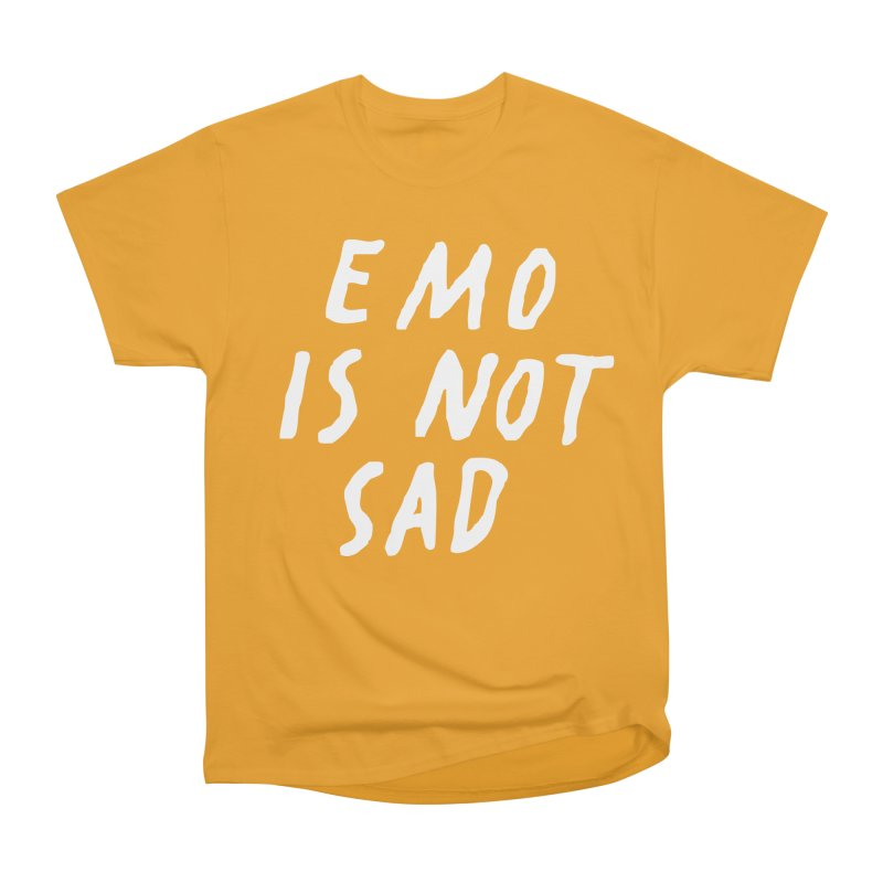 Emo is Not Sad  Women's Heavyweight Unisex T-Shirt by Washed Up Emo