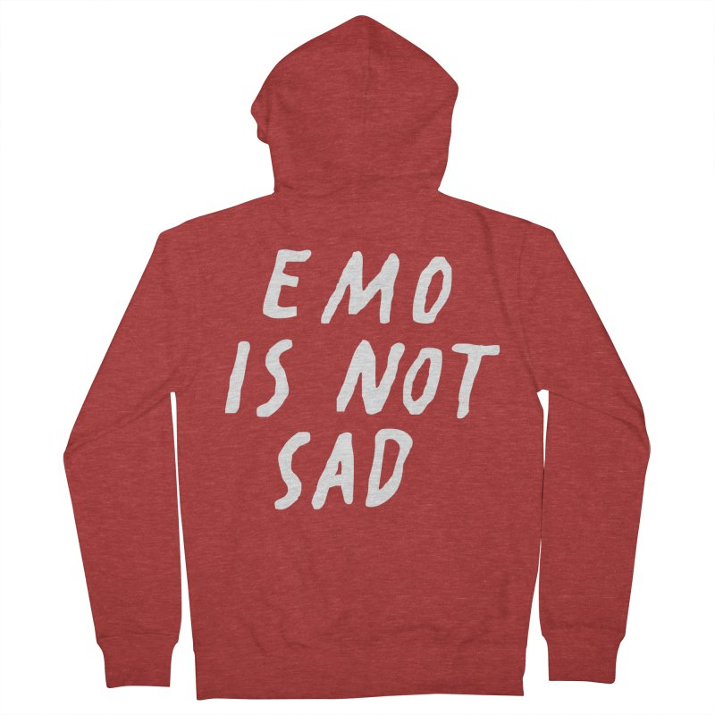 Emo is Not Sad  Women's French Terry Zip-Up Hoody by Washed Up Emo
