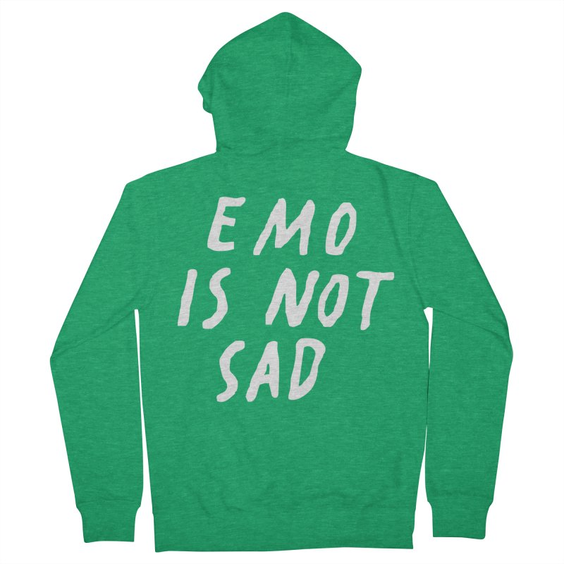 Emo is Not Sad  Men's French Terry Zip-Up Hoody by Washed Up Emo