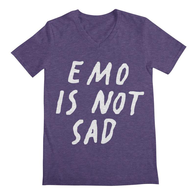 Emo is Not Sad  Men's Regular V-Neck by Washed Up Emo