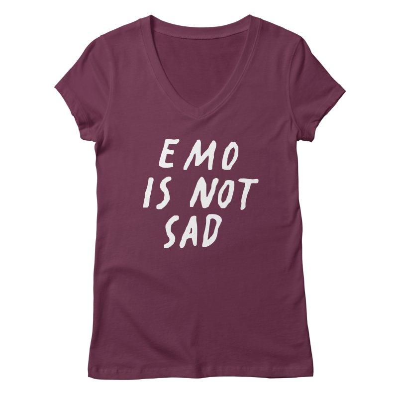Emo is Not Sad  Women's Regular V-Neck by Washed Up Emo
