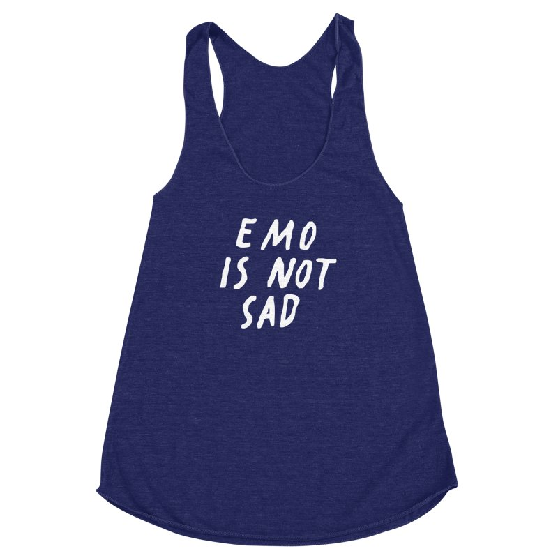 Emo is Not Sad  Women's Racerback Triblend Tank by Washed Up Emo