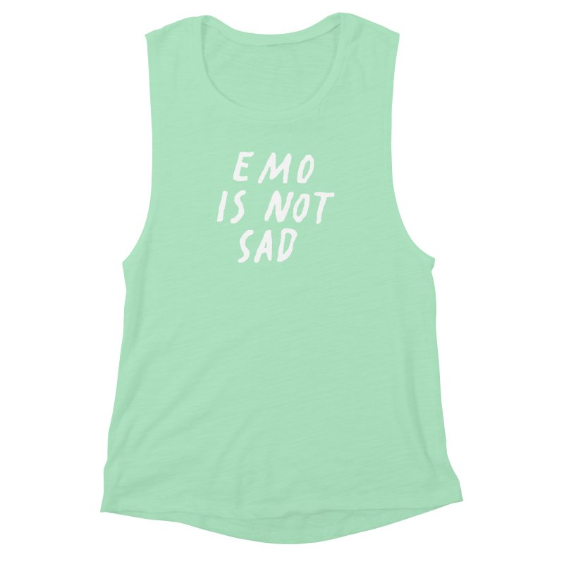 Emo is Not Sad  Women's Muscle Tank by Washed Up Emo